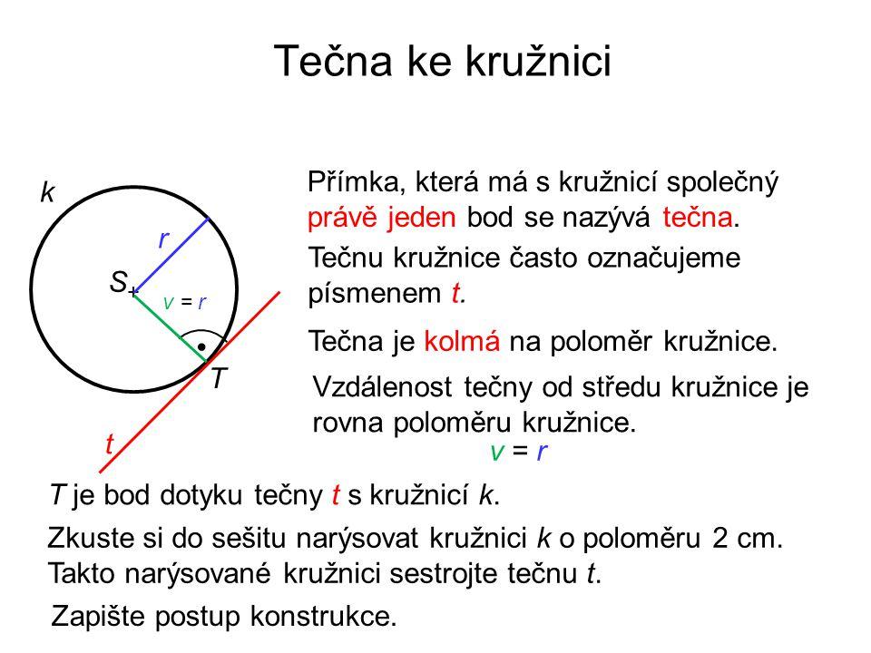 Tečna ke kružnici Přímka, která má s kružnicí společný právě jeden bod se nazývá tečna. k. r. Tečnu kružnice často označujeme písmenem t.