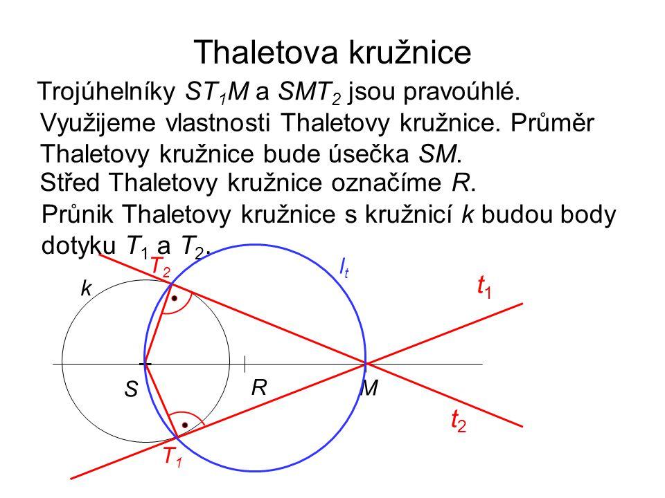 Thaletova kružnice Trojúhelníky ST1M a SMT2 jsou pravoúhlé.