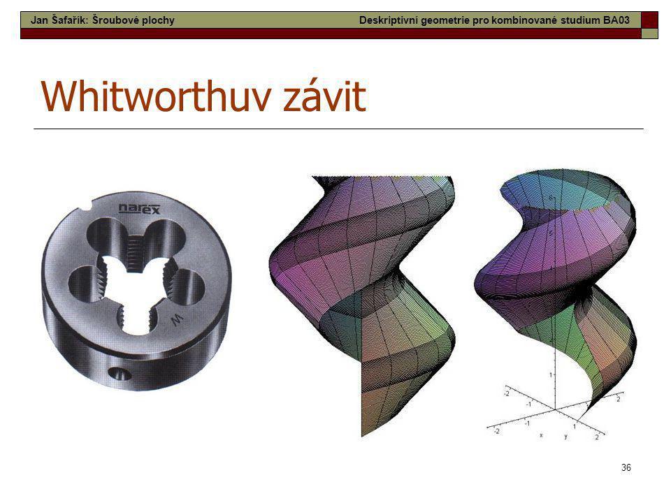 Whitworthuv závit Jan Šafařík: Šroubové plochy