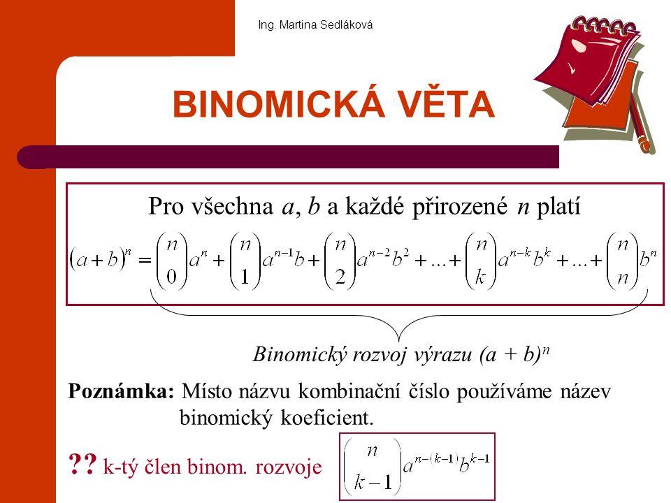 BINOMICKÁ VĚTA k-tý člen binom. rozvoje