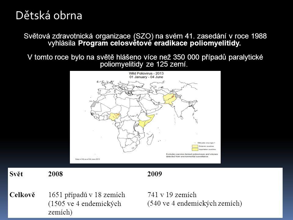 Dětská obrna Světová zdravotnická organizace (SZO) na svém 41. zasedání v roce 1988 vyhlásila Program celosvětové eradikace poliomyelitidy.