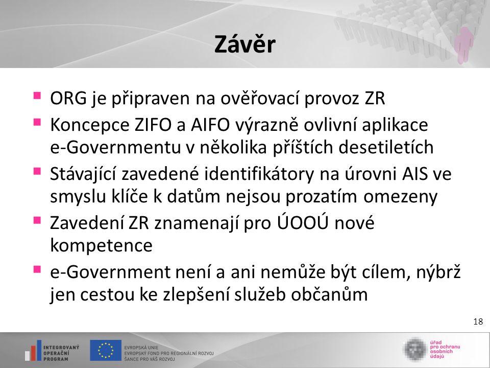 Závěr ORG je připraven na ověřovací provoz ZR