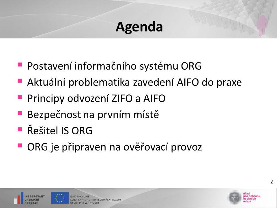 Agenda Postavení informačního systému ORG