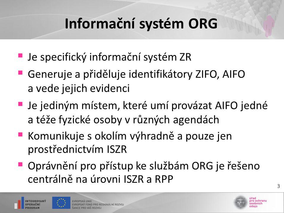 Informační systém ORG Je specifický informační systém ZR