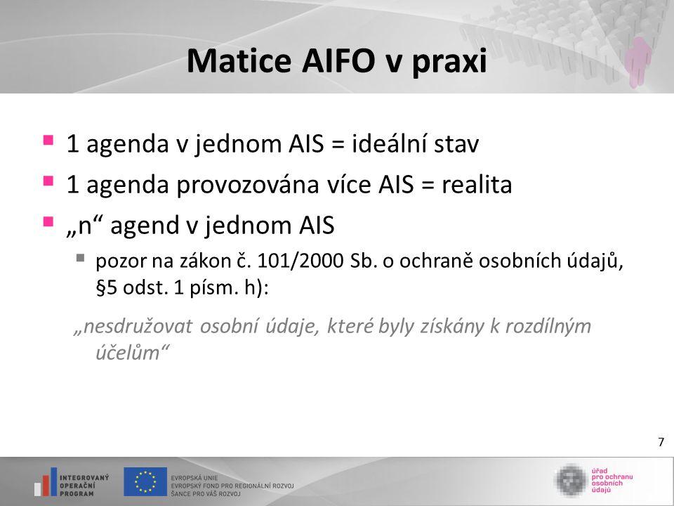 Matice AIFO v praxi 1 agenda v jednom AIS = ideální stav