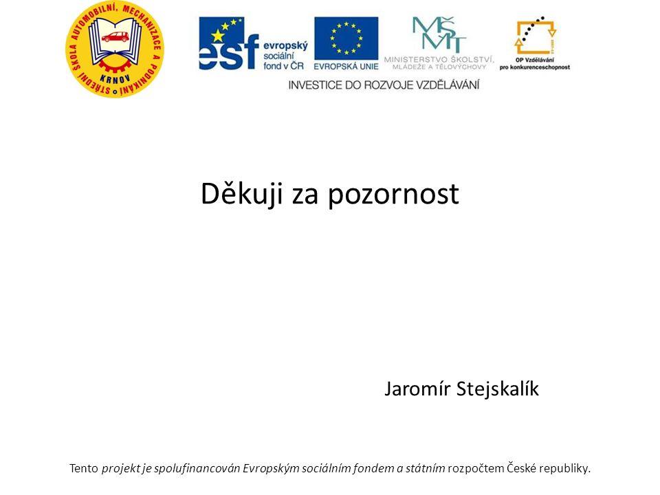 Děkuji za pozornost Jaromír Stejskalík