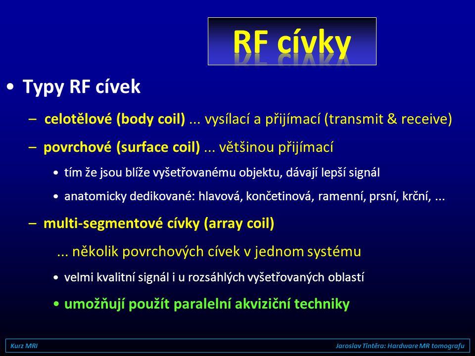 RF cívky Typy RF cívek. celotělové (body coil) ... vysílací a přijímací (transmit & receive) povrchové (surface coil) ... většinou přijímací.