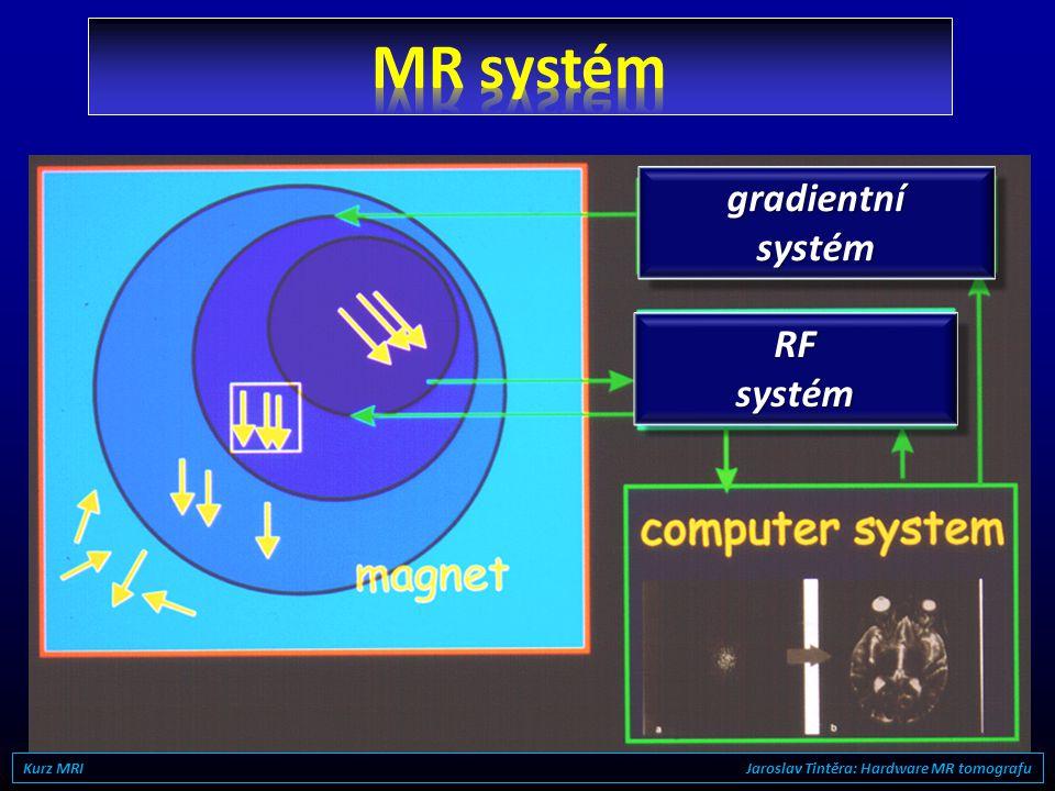 MR systém gradientní systém RF systém
