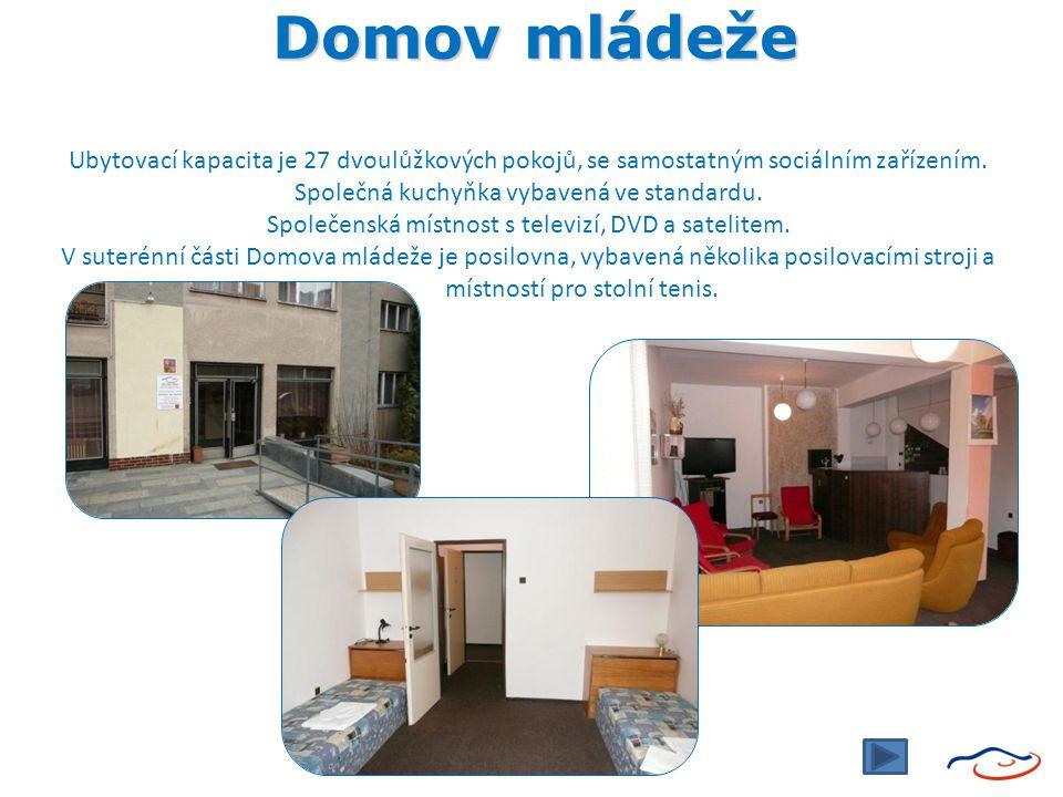 Domov mládeže Ubytovací kapacita je 27 dvoulůžkových pokojů, se samostatným sociálním zařízením.
