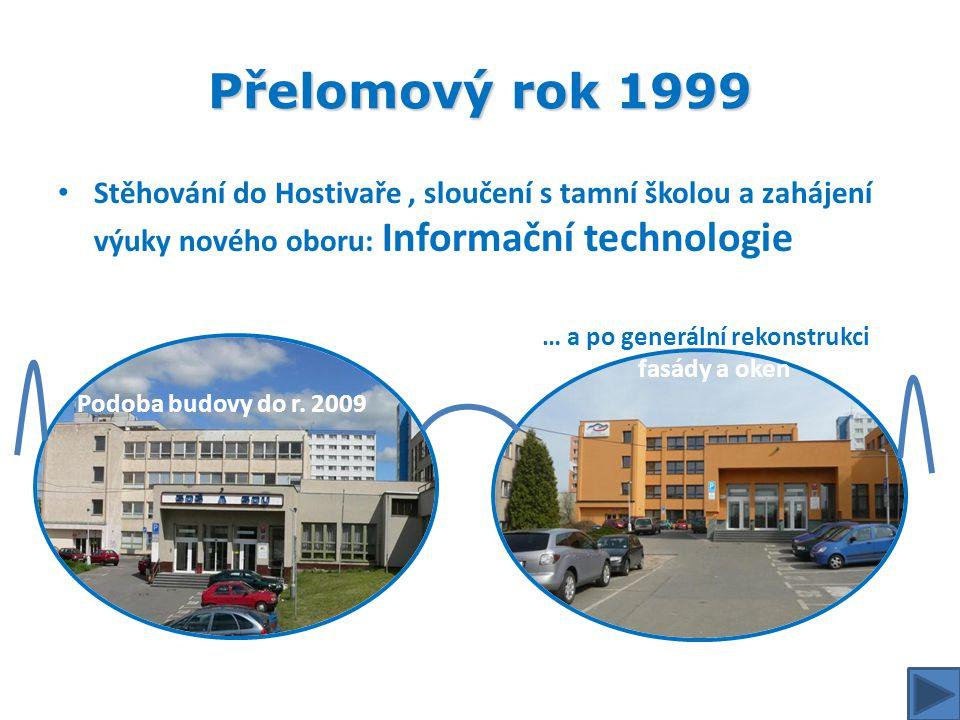 Přelomový rok 1999 Stěhování do Hostivaře , sloučení s tamní školou a zahájení výuky nového oboru: Informační technologie.