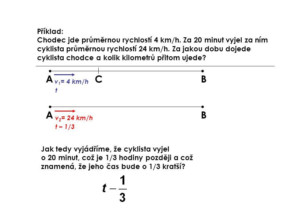 Příklad: Chodec jde průměrnou rychlostí 4 km/h
