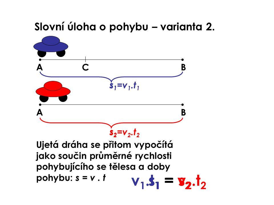 v1.t1 = v2.t2 s1 = s2 Slovní úloha o pohybu – varianta 2. A C B