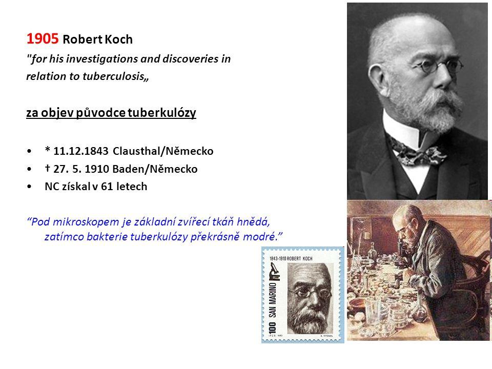 1905 Robert Koch za objev původce tuberkulózy