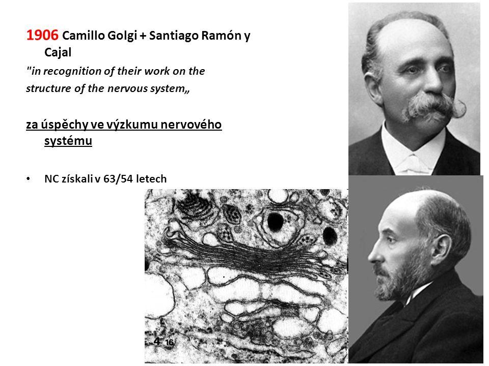 1906 Camillo Golgi + Santiago Ramón y Cajal