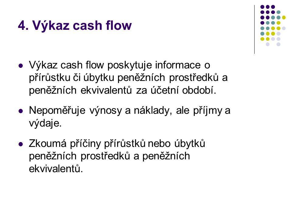 4. Výkaz cash flow Výkaz cash flow poskytuje informace o přírůstku či úbytku peněžních prostředků a peněžních ekvivalentů za účetní období.