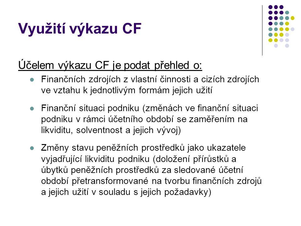 Využití výkazu CF Účelem výkazu CF je podat přehled o: