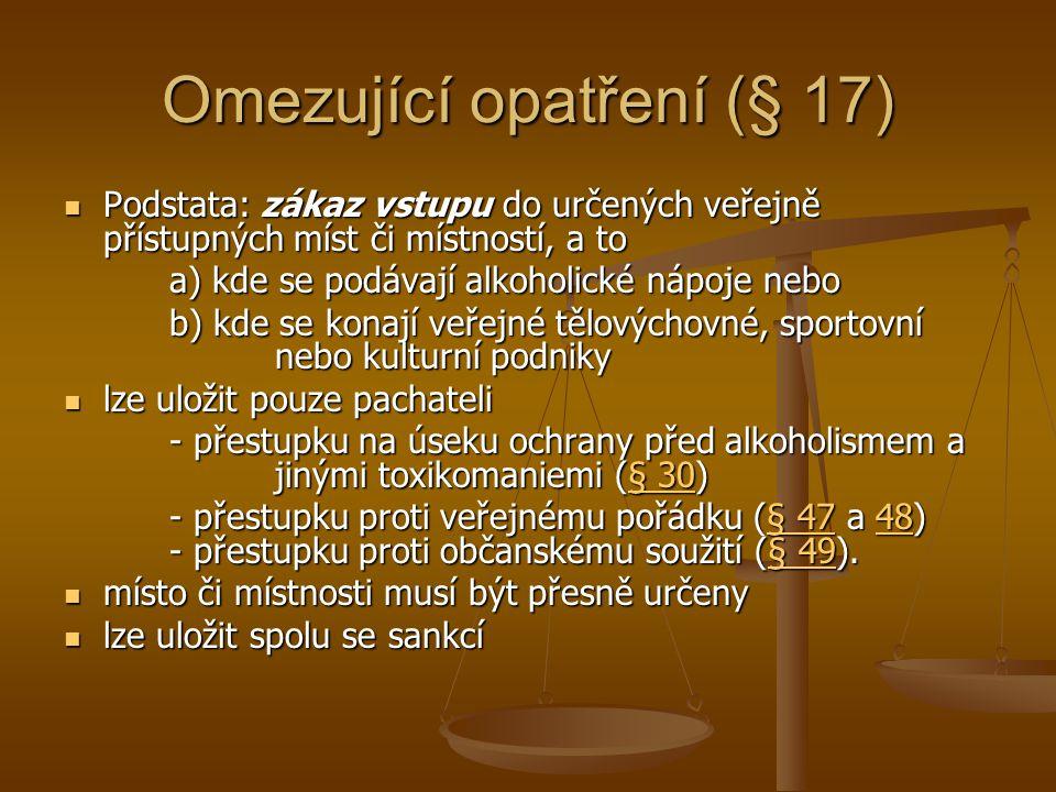 Omezující opatření (§ 17)