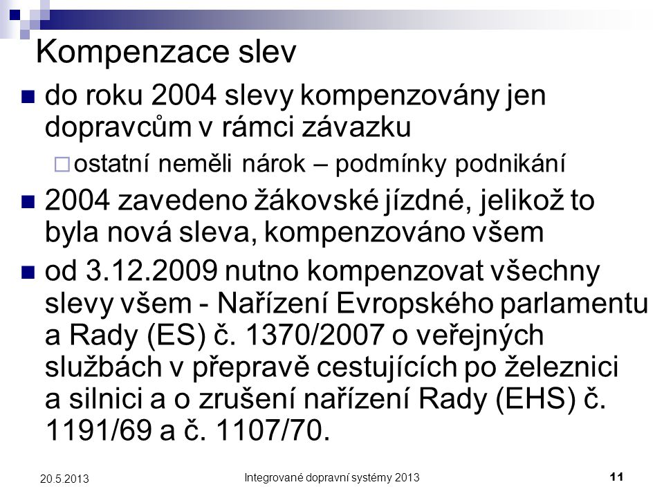 Integrované dopravní systémy 2013
