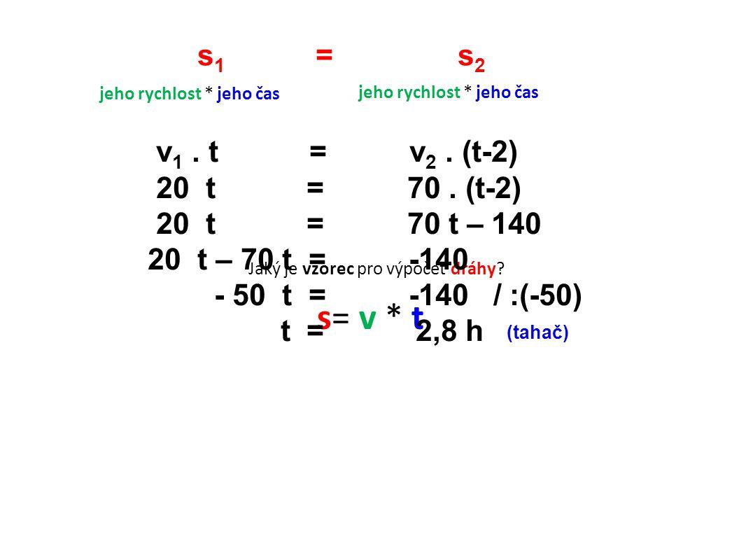 s= v * t s1 = s2 v1 . t = v2 . (t-2) 20 t = 70 . (t-2)