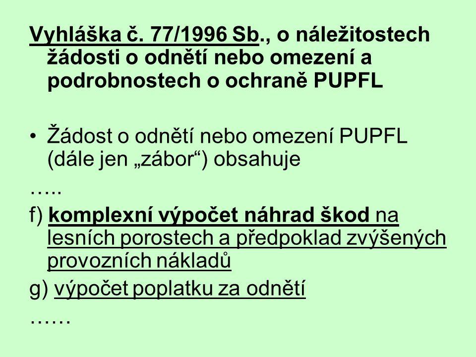 Vyhláška č. 77/1996 Sb., o náležitostech žádosti o odnětí nebo omezení a podrobnostech o ochraně PUPFL
