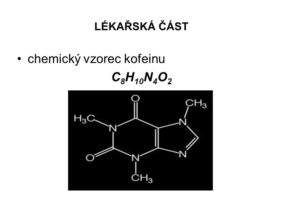 chemický vzorec kofeinu C8H10N4O2