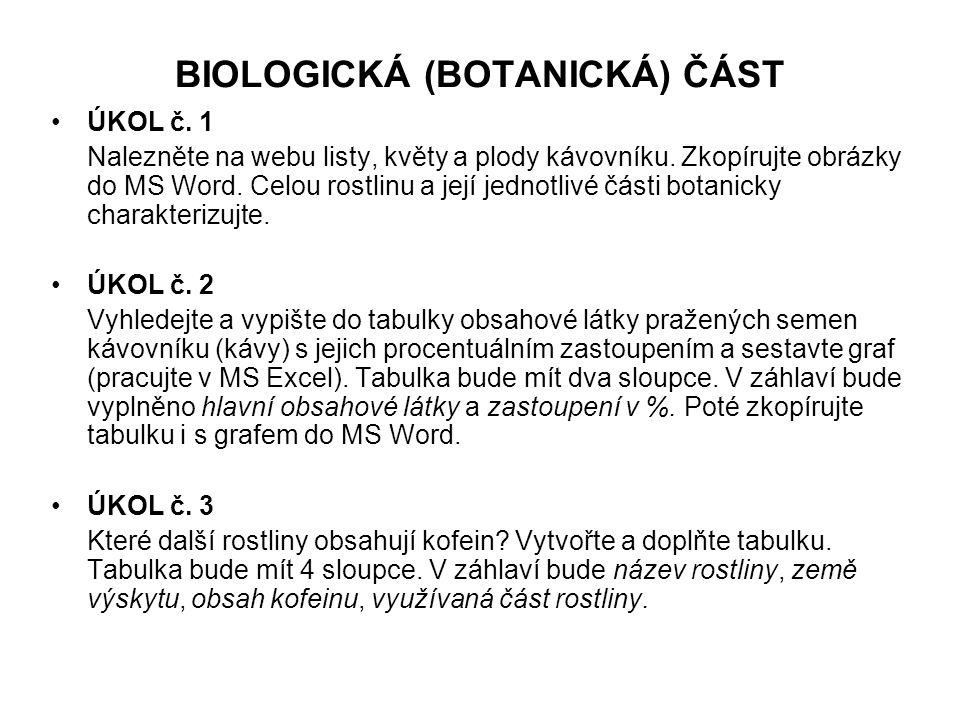 BIOLOGICKÁ (BOTANICKÁ) ČÁST