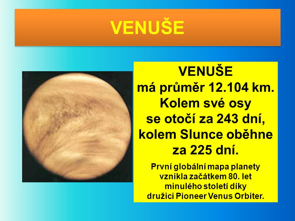 První globální mapa planety družici Pioneer Venus Orbiter.
