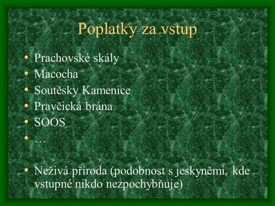 Poplatky za vstup Prachovské skály Macocha Soutěsky Kamenice