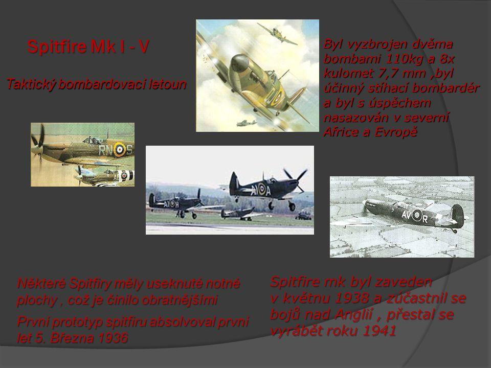 Spitfire Mk I - V Taktický bombardovací letoun