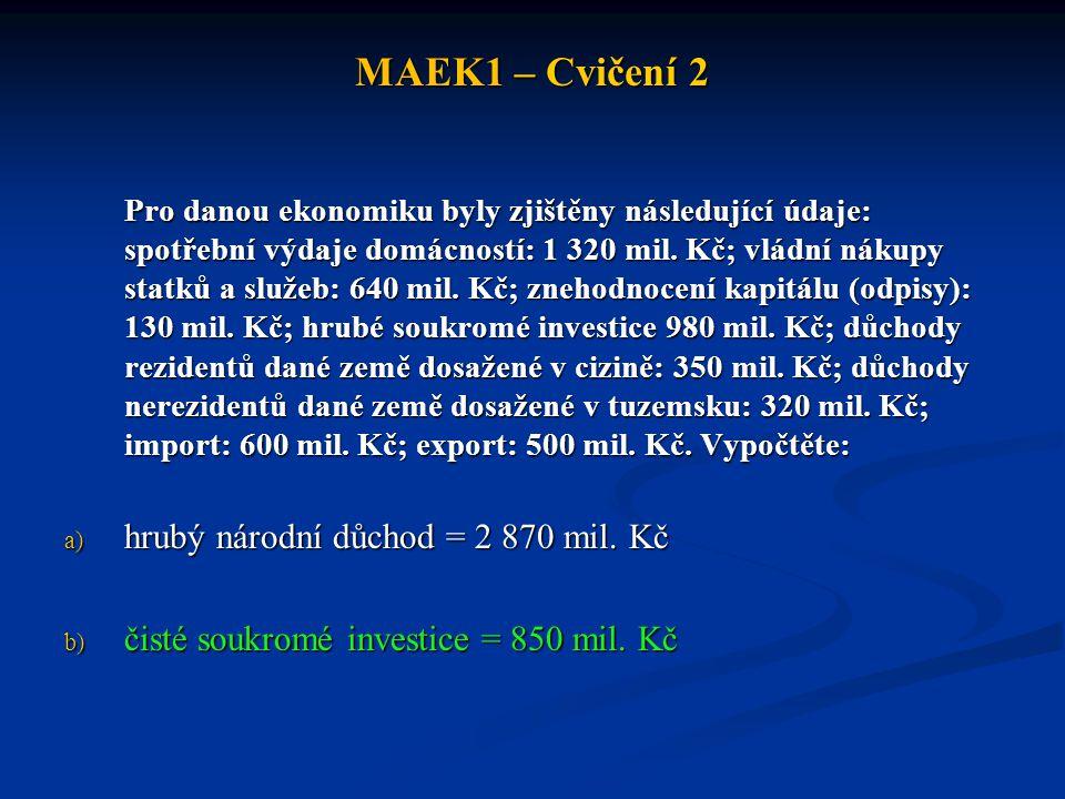 MAEK1 – Cvičení 2 hrubý národní důchod = 2 870 mil. Kč