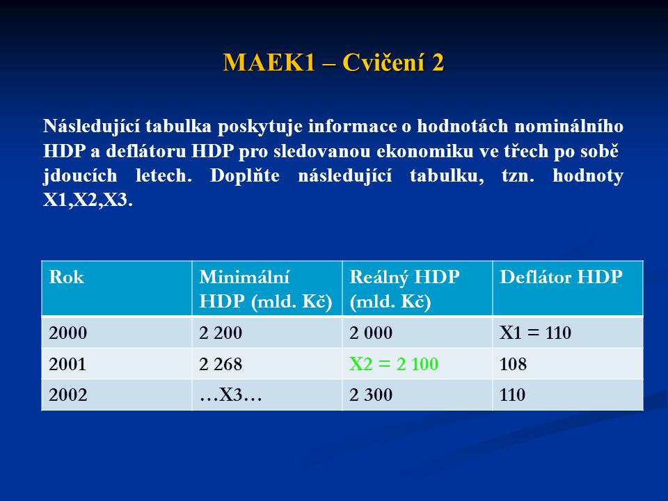 MAEK1 – Cvičení 2 Následující tabulka poskytuje informace o hodnotách nominálního. HDP a deflátoru HDP pro sledovanou ekonomiku ve třech po sobě.