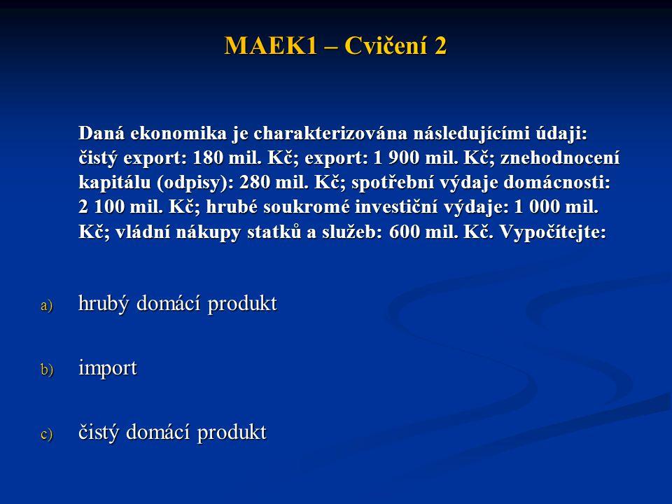 MAEK1 – Cvičení 2 hrubý domácí produkt import čistý domácí produkt