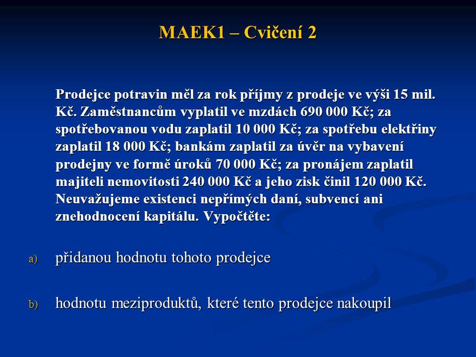 MAEK1 – Cvičení 2 přidanou hodnotu tohoto prodejce