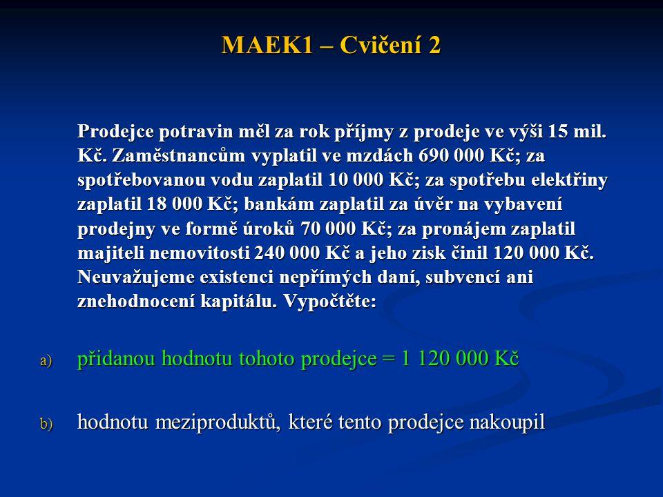 MAEK1 – Cvičení 2 přidanou hodnotu tohoto prodejce = 1 120 000 Kč