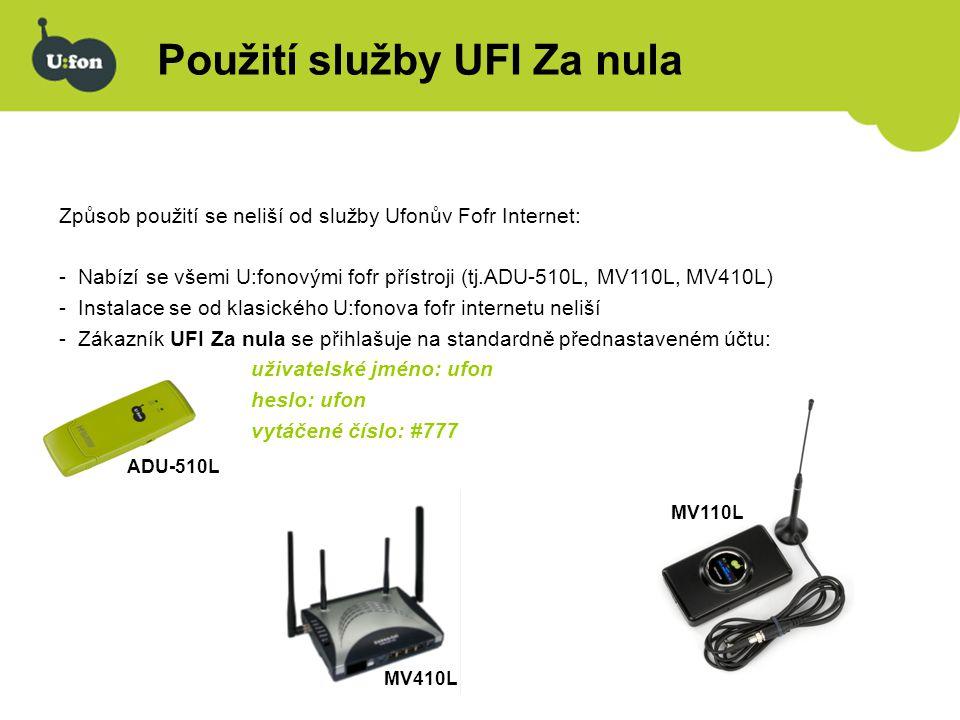 Použití služby UFI Za nula