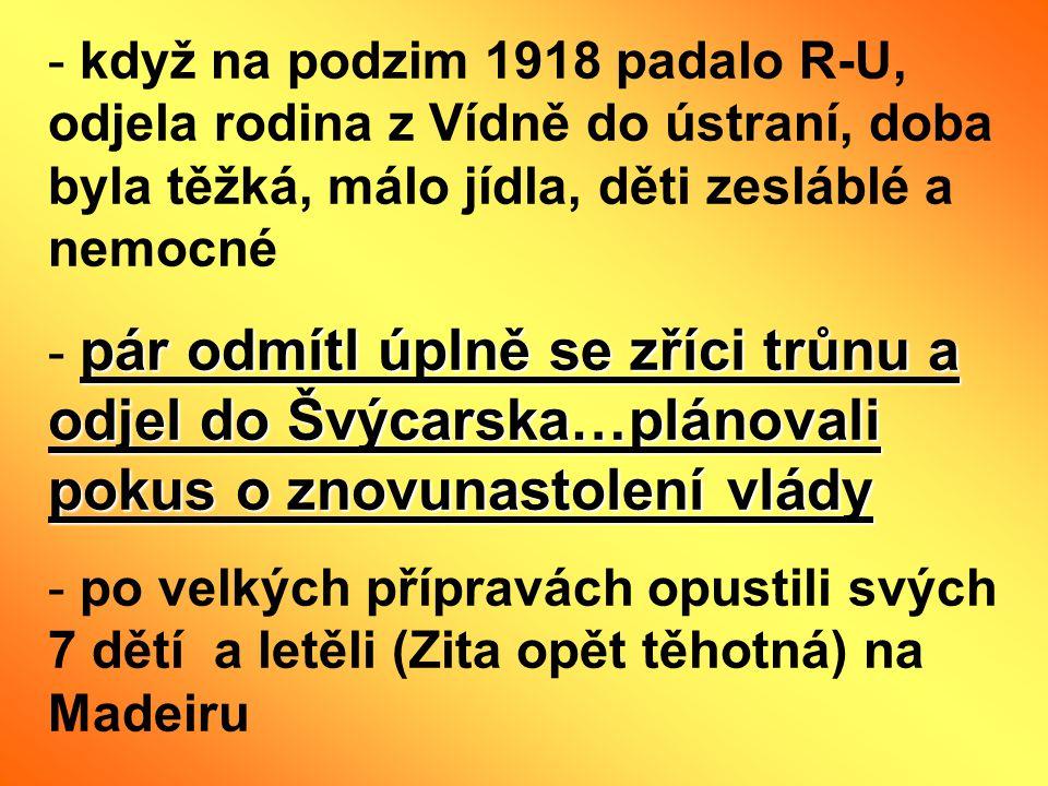 když na podzim 1918 padalo R-U, odjela rodina z Vídně do ústraní, doba byla těžká, málo jídla, děti zesláblé a nemocné