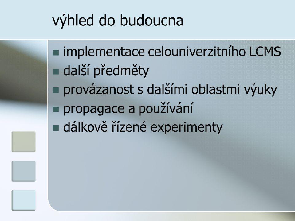 výhled do budoucna implementace celouniverzitního LCMS další předměty