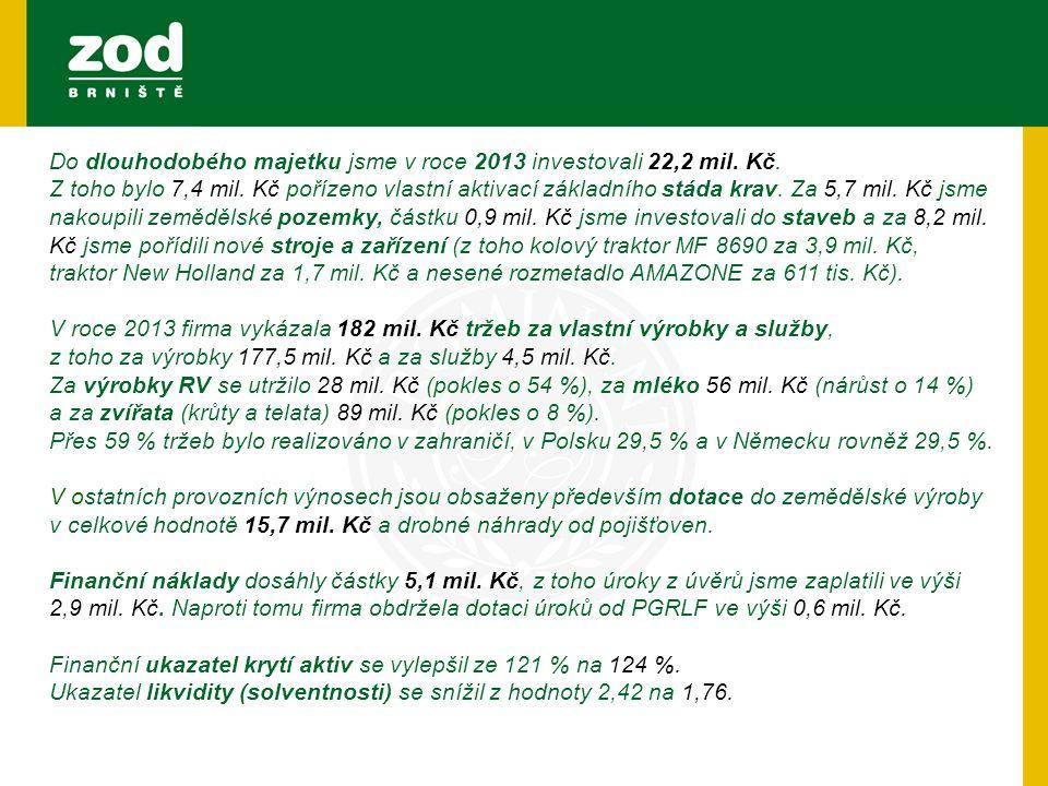 Do dlouhodobého majetku jsme v roce 2013 investovali 22,2 mil. Kč