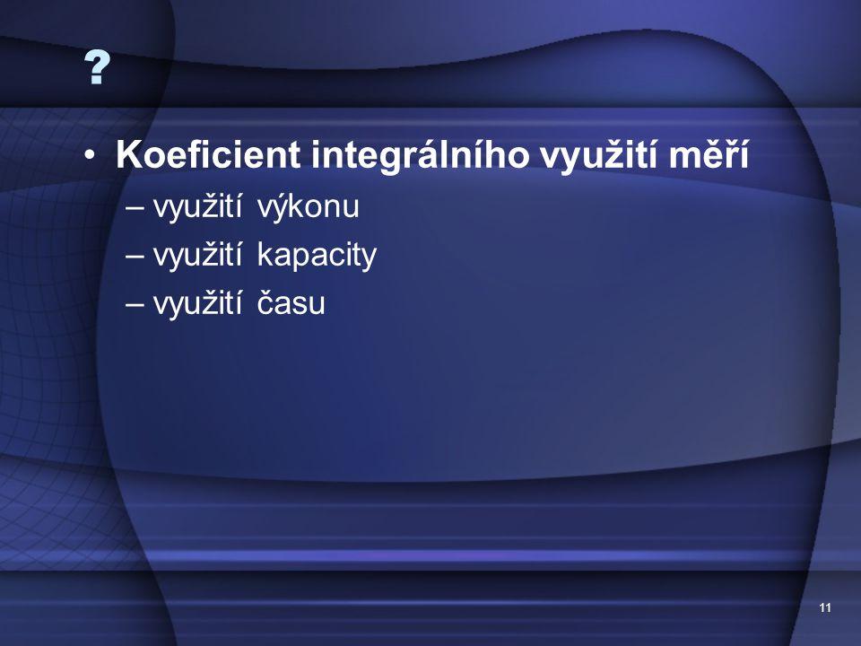 Koeficient integrálního využití měří využití výkonu využití kapacity