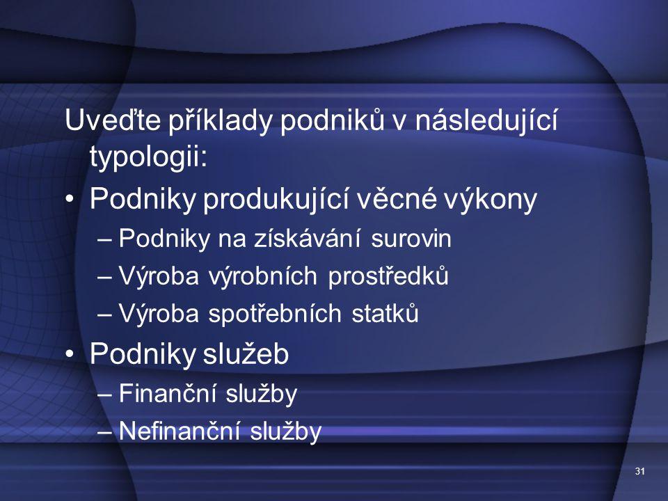 Uveďte příklady podniků v následující typologii: