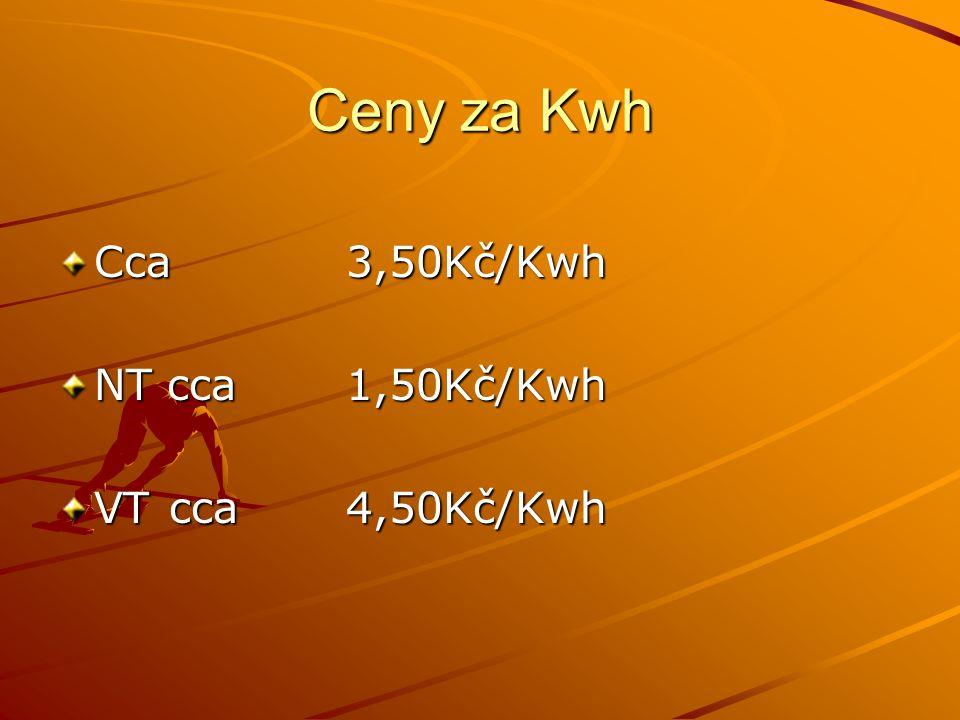 Ceny za Kwh Cca 3,50Kč/Kwh NT cca 1,50Kč/Kwh VT cca 4,50Kč/Kwh