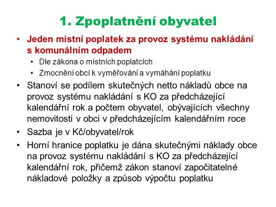 1. Zpoplatnění obyvatel Jeden místní poplatek za provoz systému nakládání s komunálním odpadem. Dle zákona o místních poplatcích.