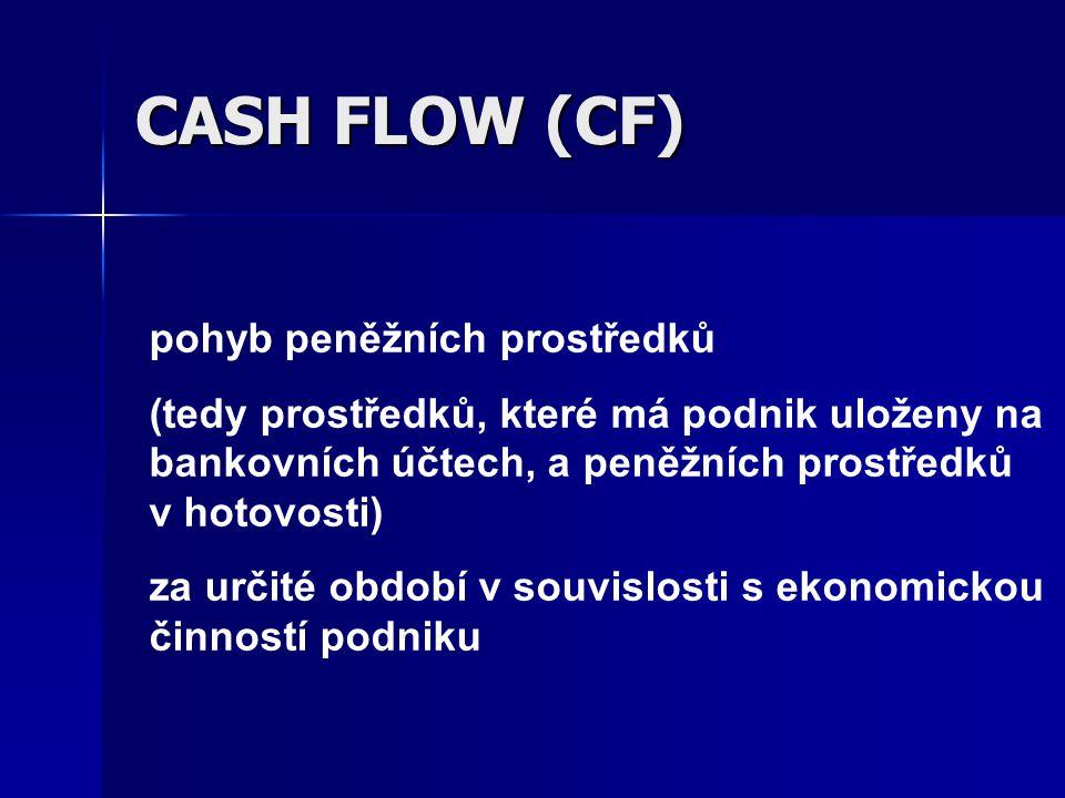 CASH FLOW (CF) pohyb peněžních prostředků