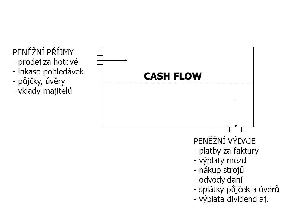 CASH FLOW PENĚŽNÍ PŘÍJMY - prodej za hotové - inkaso pohledávek