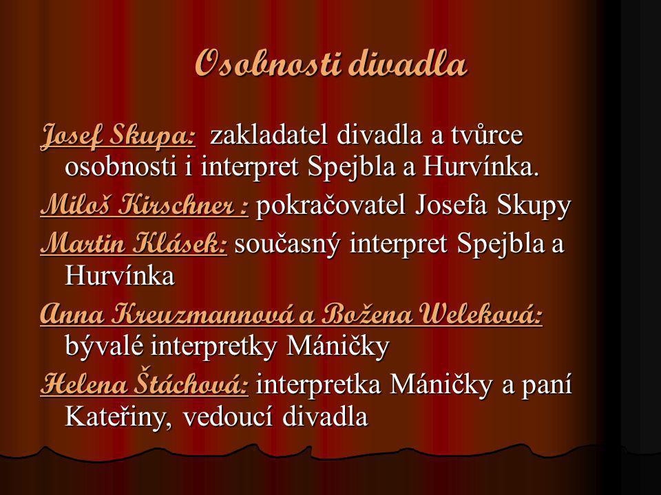 Osobnosti divadla Josef Skupa: zakladatel divadla a tvůrce osobnosti i interpret Spejbla a Hurvínka.