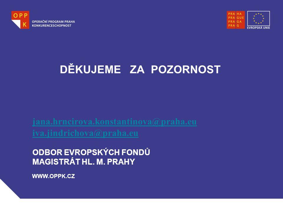 DĚKUJEME ZA POZORNOST jana. hrncirova. konstantinova@praha. eu iva