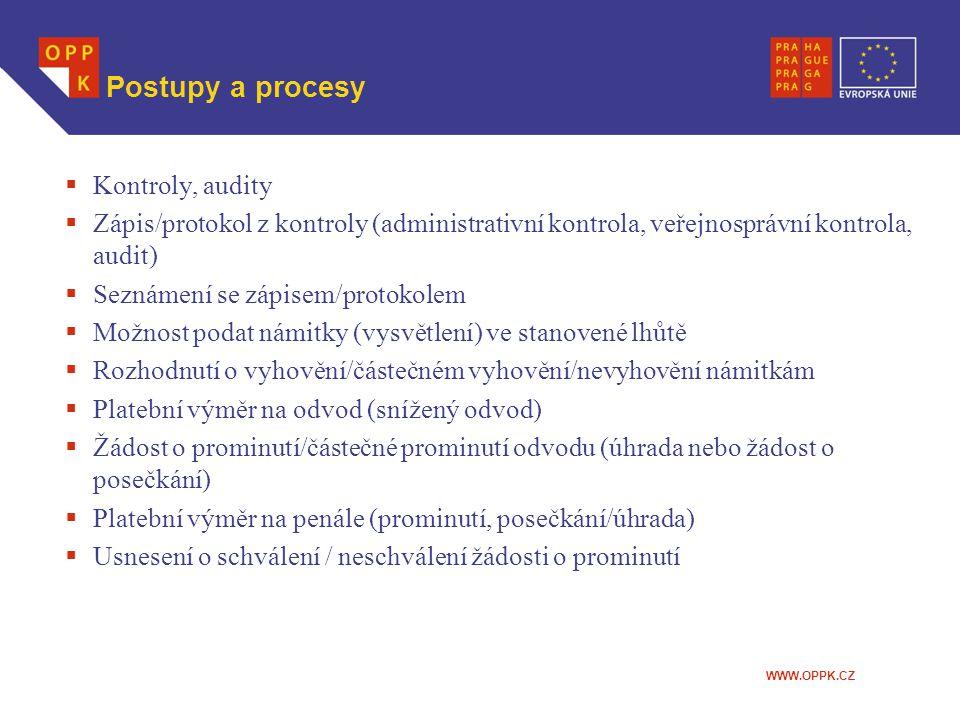 Postupy a procesy Kontroly, audity