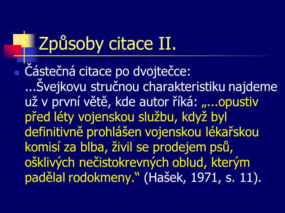 Způsoby citace II.