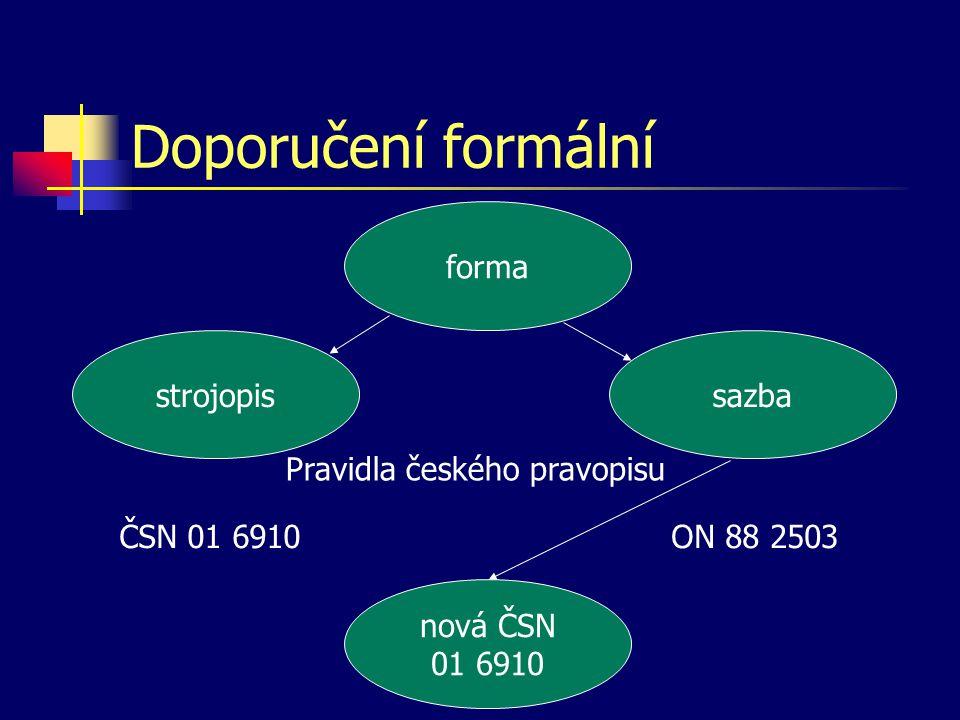 Doporučení formální forma strojopis sazba Pravidla českého pravopisu