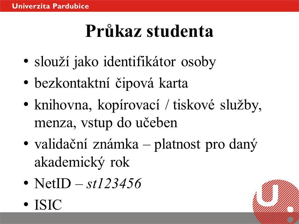 Průkaz studenta slouží jako identifikátor osoby